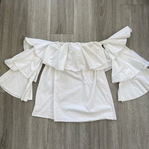 Off-shoulder white top with ruffle sleeves